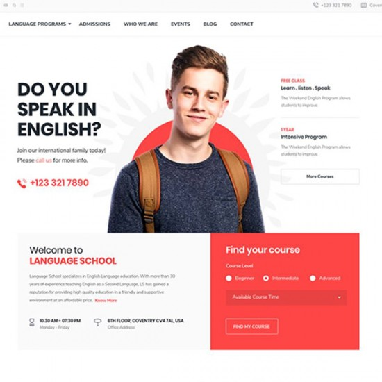 Language School joomla Template