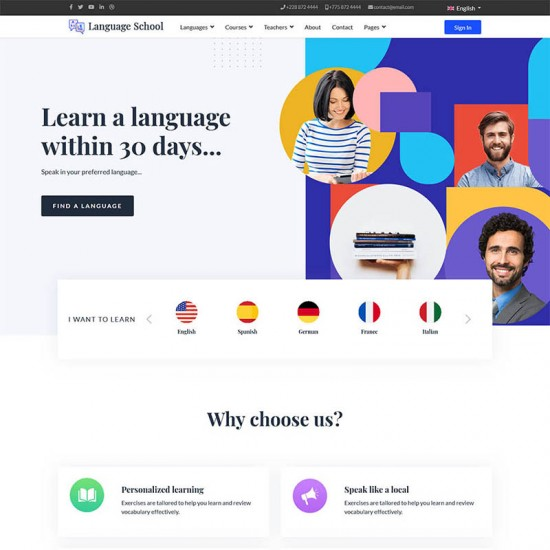 ThemeXpert Language School Joomla Template