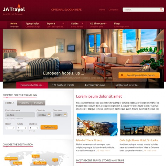 JA Travel Joomla Template